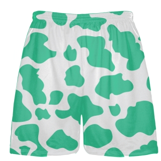 White Teal Cow Print Shorts - Cow Shorts
