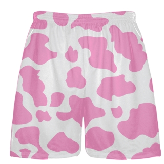 White Pink Cow Print Shorts - Cow Shorts