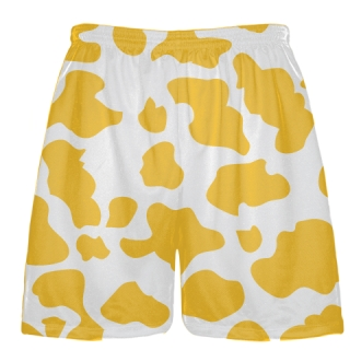 White Gold Cow Print Shorts - Cow Shorts
