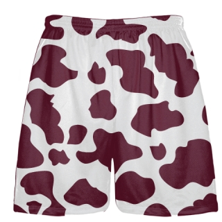 White Maroon Cow Print Shorts - Cow Shorts