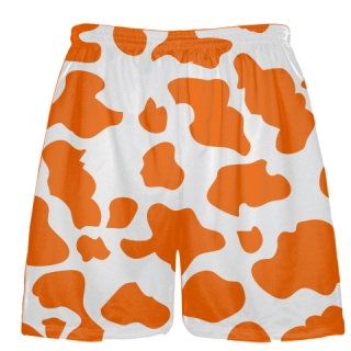 White Orange Cow Print Shorts - Cow Shorts