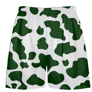 White Dark Green Cow Print Shorts - Cow Shorts