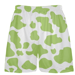 White Lime Green Cow Print Shorts - Cow Shorts