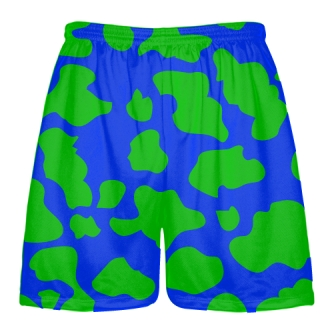 Blue Green Cow Print Shorts - Cow Shorts