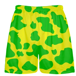Yellow Green Cow Print Shorts - Cow Shorts