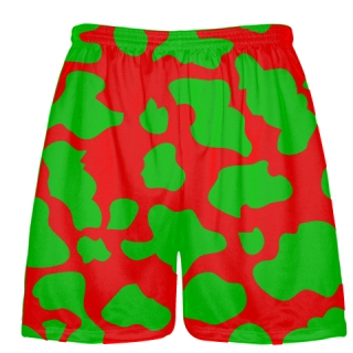 Red Green Cow Print Shorts - Cow Shorts
