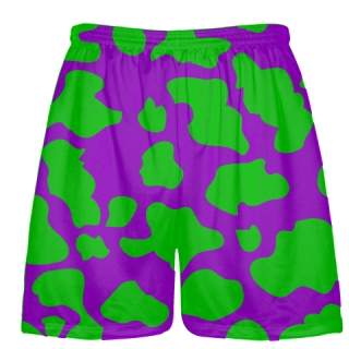 Purple Green Cow Print Shorts - Cow Shorts