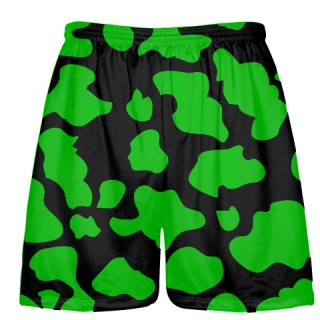 Black Green Cow Print Shorts - Cow Shorts