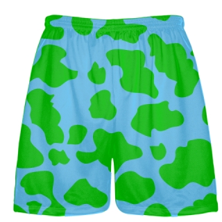 Light Blue Green Cow Print Shorts - Cow Shorts