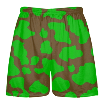 Brown Green Cow Print Shorts - Cow Shorts
