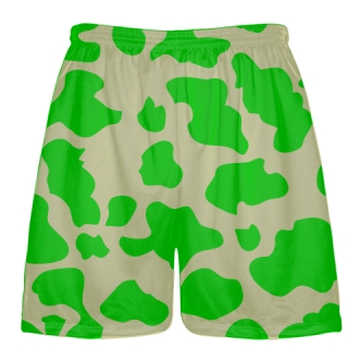 Vegas Gold Green Cow Print Shorts - Cow Shorts