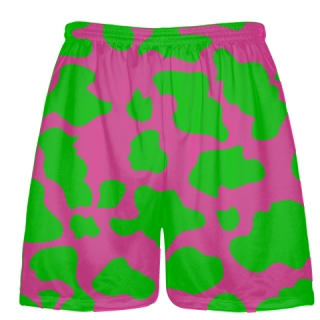 Hot Pink Green Cow Print Shorts - Cow Shorts