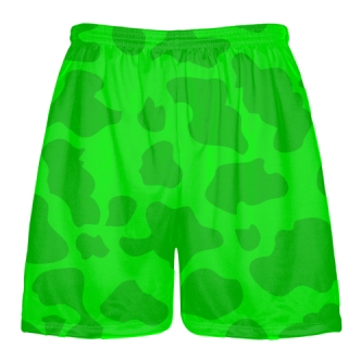 Neon Green Green Cow Print Shorts - Cow Shorts