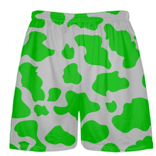 Silver Green Cow Print Shorts - Cow Shorts