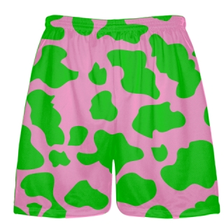 Pink Green Cow Print Shorts - Cow Shorts
