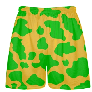 Gold Green Cow Print Shorts - Cow Shorts