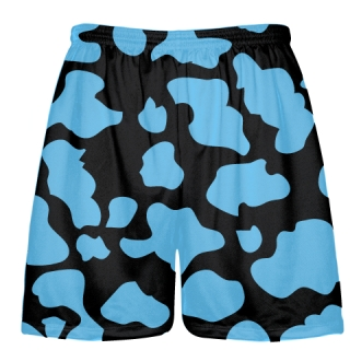 Black Powder Blue Cow Print Shorts - Cow Shorts