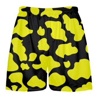 Black Yellow Cow Print Shorts - Cow Shorts