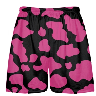 Black Hot Pink Cow Print Shorts - Cow Shorts