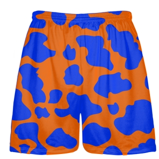 Blue Orange Cow Print Shorts - Cow Shorts