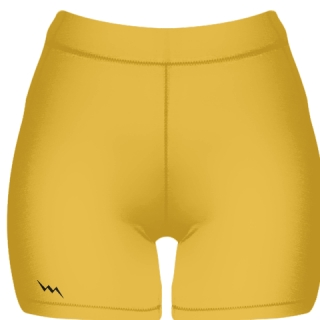 Athletic Gold Spandex Shorts - Girls Womens Spandex