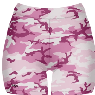 Pink Camouflage Spandex Shorts - Girls Womens Spandex