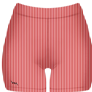 Red Stripe Spandex Shorts - Girls Womens Spandex