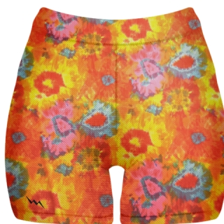 Orange Tie Dye Spandex Shorts - Compression Shorts Girls