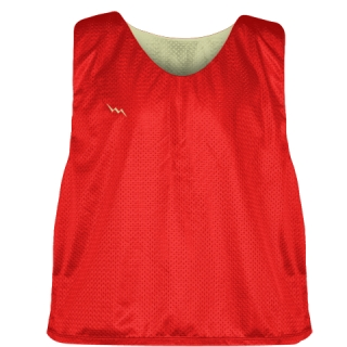 Lacrosse Pinnies Red Vegas Gold - Adult Youth Lacrosse Reversible Jersey