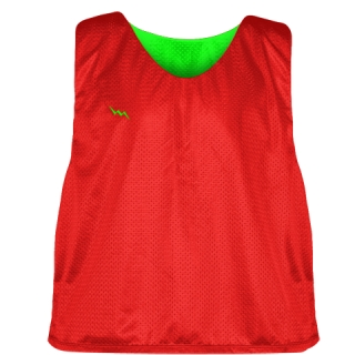 Lacrosse Pinnies Red Neon Green - Adult Youth Lacrosse Reversible Jersey