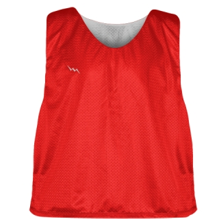 Lacrosse Pinnies Red Silver - Adult Youth Lacrosse Reversible Jersey