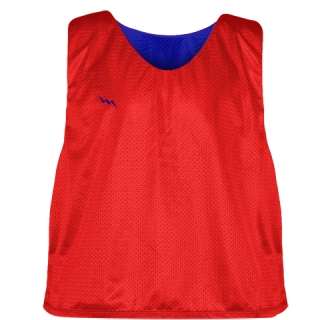 Lacrosse Pinnies Red Royal Blue - Adult Youth Lacrosse Reversible Jersey