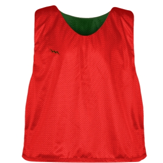 Lacrosse Pinnies Red Forest Green - Adult Youth Lacrosse Reversible Jersey