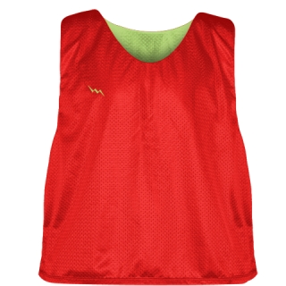 Lacrosse Pinnies Red Lime Green - Adult Youth Lacrosse Reversible Jersey