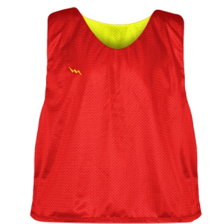 Lacrosse Pinnies Red Yellow- Adult Youth Lacrosse Reversible Jersey