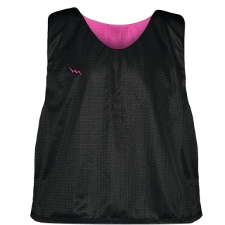 Lacrosse Pinnies Black Hot Pink - Adult Youth Mesh Reversible Jerseys