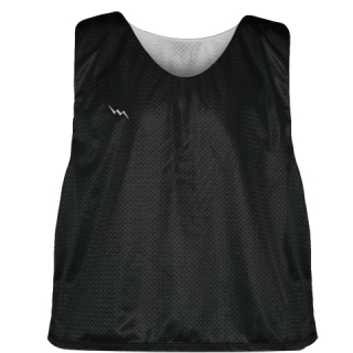 Lacrosse Pinnie Black Silver - Youth Adult Mesh Reversible Jerseys