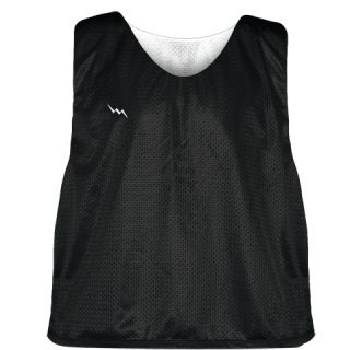 Lacrosse Pinnie Black White - Youth Adult Mesh Reversible Jerseys