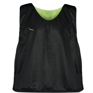 Lacrosse Pinnie Black Lime Green - Youth Adult Mesh Reversible Jerseys