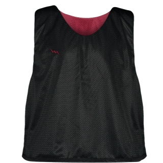Lacrosse Pinnie Black Cardinal Red - Youth Adult Mesh Reversible Jerseys