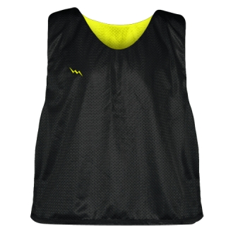 Lacrosse Pinnie Black Yellow - Youth Adult Mesh Reversible Jerseys