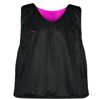 Lacrosse Pinnie Black Hot Pink - Youth Adult Mesh Reversible Jerseys