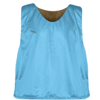 Lacrosse Pinnie Powder Blue Brown - Youth Adult Mesh Reversible Jerseys