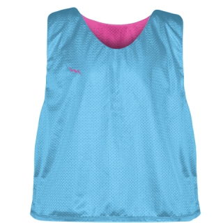 Pinnies - Lacrosse Pinnie Powder Blue Hot Pink- Youth Adult Mesh Jerseys