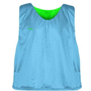Pinnies - Lacrosse Pinnie Powder Blue Neon Green - Youth Adult Mesh Jerseys