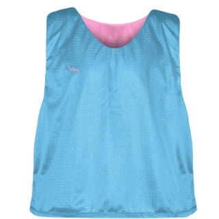 Pinnies - Lacrosse Pinnie Powder Blue Pink - Youth Adult Mesh Jerseys