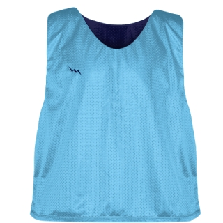 Pinnies - Lacrosse Pinnie Powder Blue Navy Blue - Youth Adult Mesh Jerseys