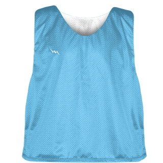Pinnies - Lacrosse Pinnie Powder Blue White - Youth Adult Mesh Jerseys