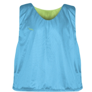 Pinnies - Lacrosse Pinnie Powder Blue Lime Green - Youth Adult Mesh Jerseys