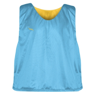 Pinnies - Lacrosse Pinnie Powder Blue Athletic Gold - Youth Adult Mesh Jerseys